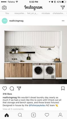 Laundry Design, Doing Laundry, Household Chores, Home Appliances, House Design, Storage, Outdoor Decor, Furniture, Instagram