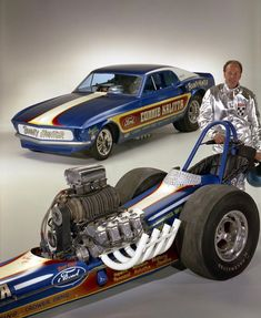 Connie Kalitta with his 'Shotgun' Ford rail & Mustang funny
