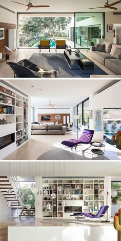This living room has large sliding glass doors that open to the pool below. There's also a floor-to-ceiling bookshelf with integrated fireplace.