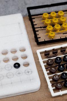Prototypes for calculator buttons, Braun Archive, Kronberg, Frankfurt, Germany