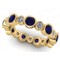 Diamant- Saphir- Memoirering 2.80 Karat aus 750 Gelbgold