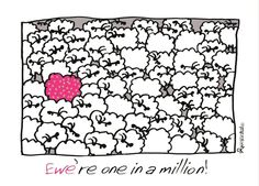 """Ewe're one in a million!"" card by Ann Gadd."
