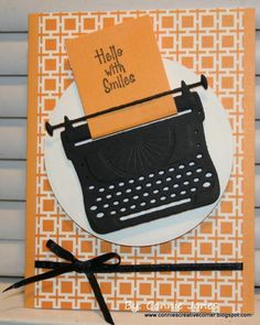 Card typewriter, typing, writing, machine, Hello With Smiles Retro Typewriter, Vintage Office, Get Well Cards, Butterfly Cards, Cool Cards, Homemade Cards, Stampin Up Cards, I Card, Birthday Cards