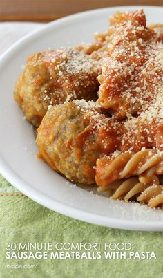 Homemade Sausage Meatballs Pasta Recipes, New Recipes, Cooking Recipes, Favorite Recipes, Sausage Meatballs, Fresh Bread Crumbs, Delicious Magazine, 30 Minute Meals, Italian Dishes