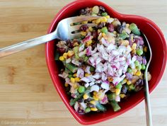 This salad is like a zesty 3-bean salad but with 4 types of beans, as well as corn, peas and red onion. The dressing is tangy and mildly spicy due to the garlic, mustard and cumin. A colorful salad...