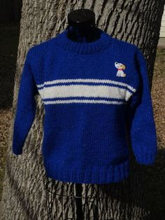 Children Sweater Hand Knitted in Royal Blue by toppytoppy on Etsy, $60.00