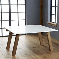 Riviera Square White Top Dining Table in Dining Tables | Crate and Barrel