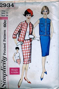 Chanel-type Suit pattern, 1950s, Simplicity 2934 - Size 14 - Jacket and skirt by PennyPaperCompany on Etsy https://www.etsy.com/listing/237853298/chanel-type-suit-pattern-1950s