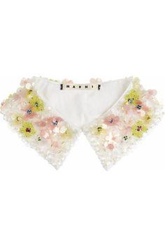 MARNI Embellished cotton-poplin collar