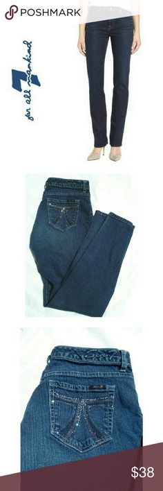 """SEVENS 7  STRAIGHT LEG JEANS SEVENS 7  STRAIGHT LEG JEANS * Image for similarity / Pre-Loved  *.  Premium Seven for All Mankind  *.  Seven Being Image on Back Pockets *   Standard Five Pocket, Zipper & Fly  *.  98% Cotton / 2% Spandex *.  Approx Meas. 9"""" Rise W 16""""  L 31"""" *.  Width of Leg Bottom 7 1/2"""" SIZE 8 Seven7 Pants Straight Leg"""