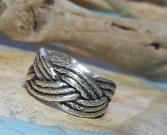Braided Rope Silver Ring by HappyGoLicky Jewelry, $65 | CLICK pic & use coupon code PIN10 to save 10% now #Nautical #NauticalJewelry