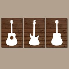 Wood GUITAR Wall Art Music Theme Nursery Boy Bedroom by TRMdesign