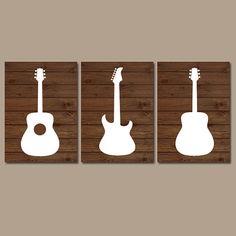 Wood GUITAR Wall Art Music Theme Nursery Boy Bedroom by TRMdesign