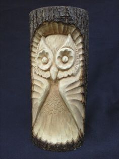 Reserved CherieWooden Owl Hand Carved in a Basswood Log, Folk Art Owl, Rustic Woodland Owl Wood Carving, Sculpture of an Owl, Woodcarved Owl - Wood Projects Wood Carving Designs, Wood Carving Patterns, Wood Carving Art, Wood Patterns, Stone Carving, Wood Art, Carved Wooden Animals, Wooden Owl, Whittling Wood
