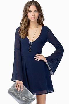 Dark Blue Back Hollow-out Long Sleeves Chiffon Dress
