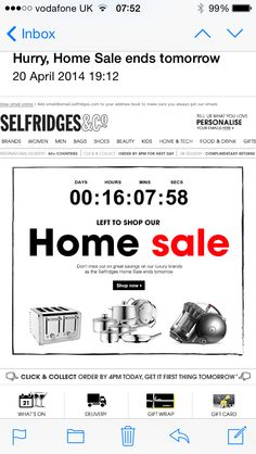 Selfridges using dynamic content in an email (powered by Movable Ink and SmartFocus)