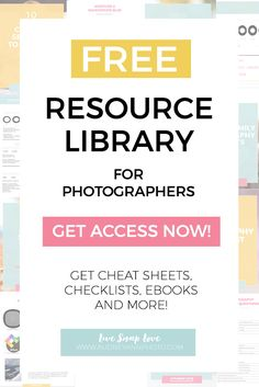 Get access to my FREE library of ebooks, cheat sheets and checklists for both new and emerging photographers. There are over 12 free resources for you to download - go get them!