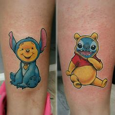from @davidebruni80 -  Good sisters try to walk in sisters shoes! Made with @sunskintattoomachines and #worldfamousink #winniethepooh #stitch #ohana #disney #nerdtattoo #gamingtattoo #savemyink #inkjunkeyz #no2daysthesame #tattoosnob #thinkbeforeuink #the_tattoo_insta_ #awesometattoos0 #tattoomadeinitaly #tattooistartmag  #tattooartistmagazine #newschool_nation #world_of_newschool #inkedmagazine #myworldofink #besttattoo #tattoolife #amazingtattoos #gamerink #vgta2…