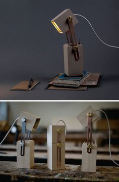 pencil wood metal light: i honestly want like 20 of these