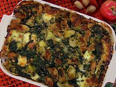 Savory Spinach and Artichoke Stuffing recipe from Emeril Lagasse via Food Network