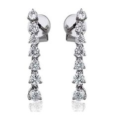 Single Row Brilliant Cut Diamond Drop Earrings 0.75ct Diamond Drop Earrings, Classic Elegance, The Row, Diamond Cuts, Diamonds, Elegant, Jewelry, Diamond Earrings, Plant Bed
