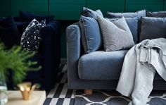 I want that blue sofa! Why didn't they have this when I was sofa shopping?! STOCKHOLM 2017 in blue plush.