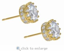 Ziamond Cubic Zirconia Earring Studs in 14K Yellow Gold.  The Crowne Earring Studs feature a 1.5 carat round center stone highlighted by pave set rounds. #ziamond #cubiczirconia #earrings #studs #diamond #jewelry #wedding