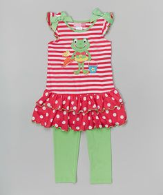 Good Lad Pink & Lime Stripe Frog Tunic & Leggings - Girls | zulily