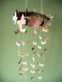 butterfly mobile birch bark  small and large by jadenrainspired