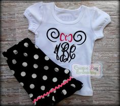 Girls Minnie Ear Monogram Shorts Set by CreativeBugEmbroid on Etsy, $36.00