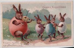 ANTIQUE POSTCARD: EASTER GREETING RABBITS DRESSED IN EGGS DANCING PLAYING VIOLIN