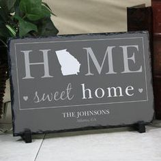 Save 15% with code PINTEREST Personalized Home Sweet Home State Welcome Stone Keepsake Gift