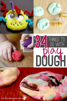 34 things to make with playdough, or even things to do with playdough, to choose from.