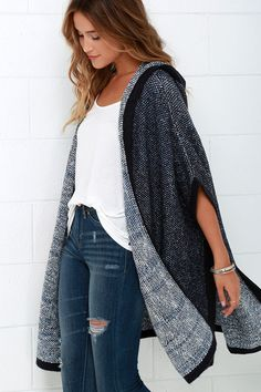 Hazel Undercover Navy Blue Hooded Poncho