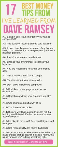 CHECK THIS OUT! 17 of the best money tips from Dave Ramsey. Heres the 17 persona. , CHECK THIS OUT! 17 of the best money tips from Dave Ramsey. Heres the 17 personal finance lessons Ive taken away from Dave Ramsey. personal finance tips debt free Budgeting Finances, Budgeting Tips, Money Tips, Money Saving Tips, Money Budget, Groceries Budget, Money Hacks, Affiliate Marketing, Money Problems