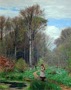 """Picking Anemones in Hunderup Forest"" by Hans Andersen Brendekilde (1857 – 1942, Danish)"