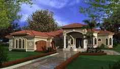 florida one story house designs | luxury mediterranean home plans