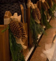 Festive Details for Your Christmastime Wedding large pinecones and fir greenery aisle markers christ Winter Church Wedding, Winter Wedding Flowers, Church Ceremony, Church Pew Wedding, Wedding Arches, Wedding Backdrops, Ceremony Backdrop, Outdoor Ceremony, Wedding Pew Decorations