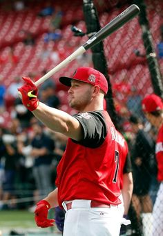 All Star Matt Holliday stretches during the All Star Workout. 7-13-15