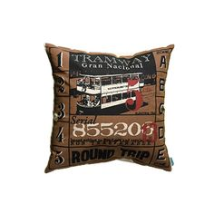 "Tram Pillow 18"" x 18"", 100% cotton, hand screen-printed, removable polyfill insert, back opening with tie closure.   — Passport Goods"