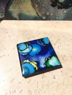 Cosmic Sky, Hand Painted Original Art, 2x2 Ceramic Tile Refrigerator Magnet, Alcohol Ink by OwlBeeArt on Etsy