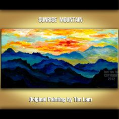 Looking at Mountain Sunrise,  Abstract Contemporary Huge Original acrylic Landscape Painting 48x24 Nature decor Fine art