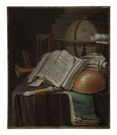 Edward Collier (Breda c. 1640-c. 1710 Leiden)  A vanitas still life with an open book, a lute etc