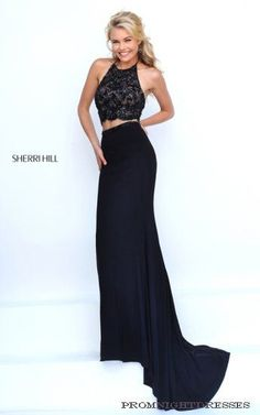 3b0e4f046a6 High Scoop Neckline Sherri Hill 50129 Beaded Embellishments Black Two Piece  2016 Long Chiffon Prom Dresses