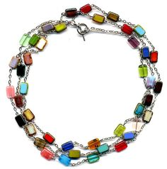 Black Friday Etsy Long Multi color Necklace Long by Annaart72, $89.00