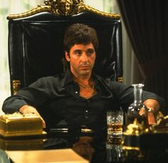 "Al Pacino in ""Scarface"" (1983) ""a cocaine cowboy"" in Miami."