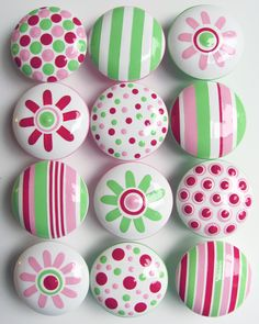 Raspberry Red, Pink, Lime Green Daisy And Polka Dot Knobs- Hand Painted Kids Wooden Knobs-set Of 12 - $76