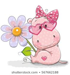 Illustration about Greeting card Hippo with flower on a white background. Illustration of baby, happiness, cheerful - 85082823 Cartoon Hippo, Cute Cartoon Animals, Baby Animals, Cute Animals, Baby Hippo, Cute Hippo, Cute Images, Cute Pictures, Environmental Crafts