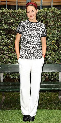 "SHAILENE WOODLEY The Fault In Our Stars's leading lady picks an embellished Emanuel Ungaro tee, white Alberta Ferretti sailor pants and her new signature headband to celebrate the film's ""Amsterdam"" bench in Century City, California."