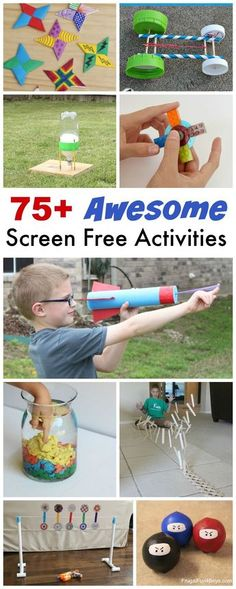 Here's a HUGE collection of screen-free activities and boredom busters for kids! Projects, crafts, games, we've got you covered. There are so many interesting things to do in the world besides sit in (Bottle Rocket Diy) Crafts For Boys, Projects For Kids, Fun Crafts, Craft Projects, Paper Crafts, Decor Crafts, Boredom Busters For Kids, Stress Busters, Free Activities For Kids